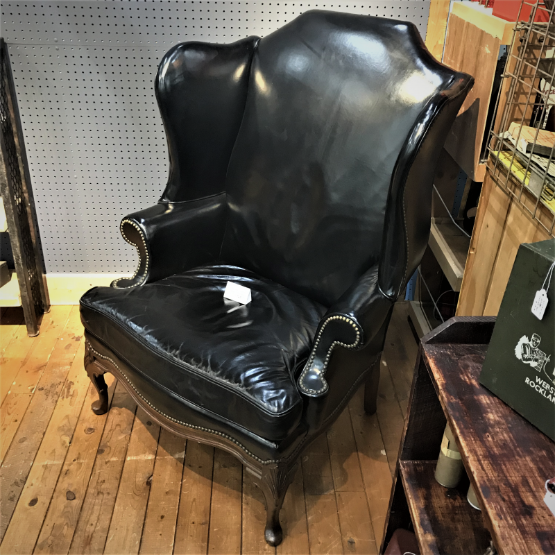 black leather wingback gentleman's chair