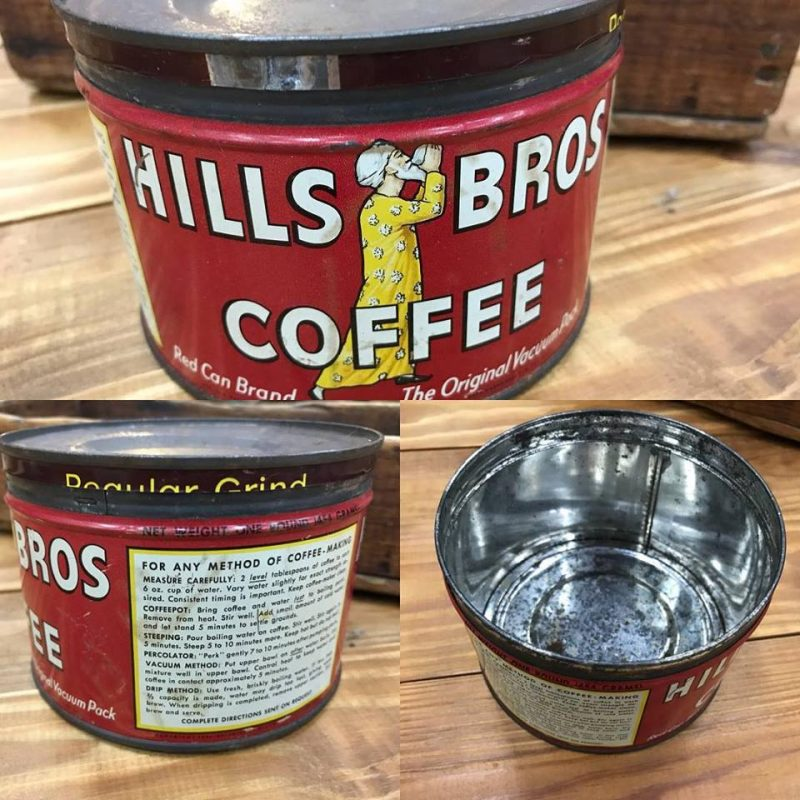 old hills bros coffee tin from the 1950's