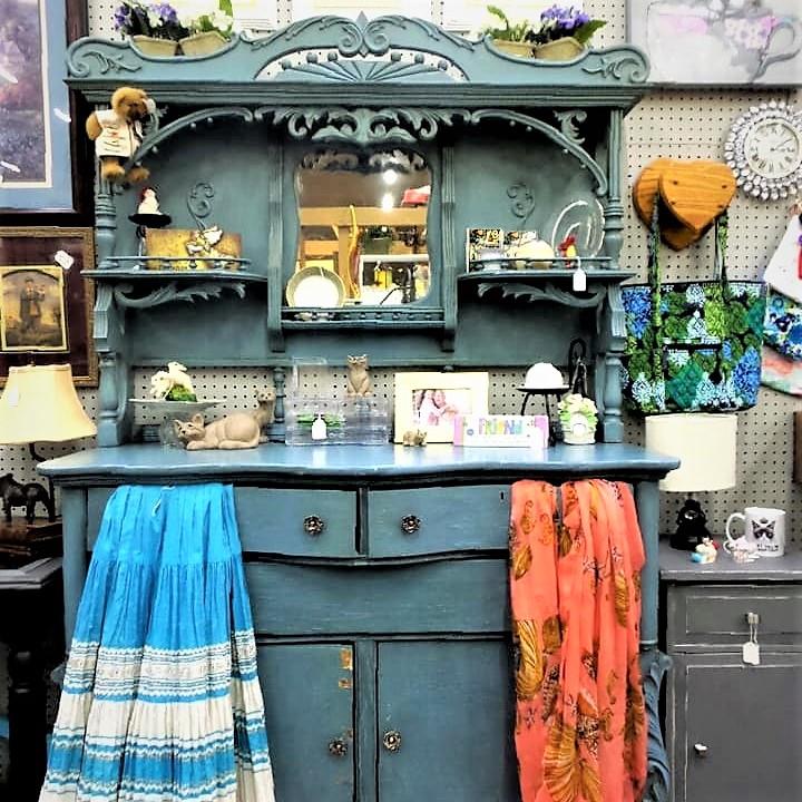 blue painted antique buffet dresser
