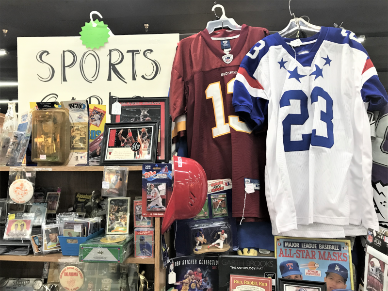 SPORTS JERSEYS, BASEBALL HELMET,  AND MISCELLANEOUS SPORTS MEMORABILIA
