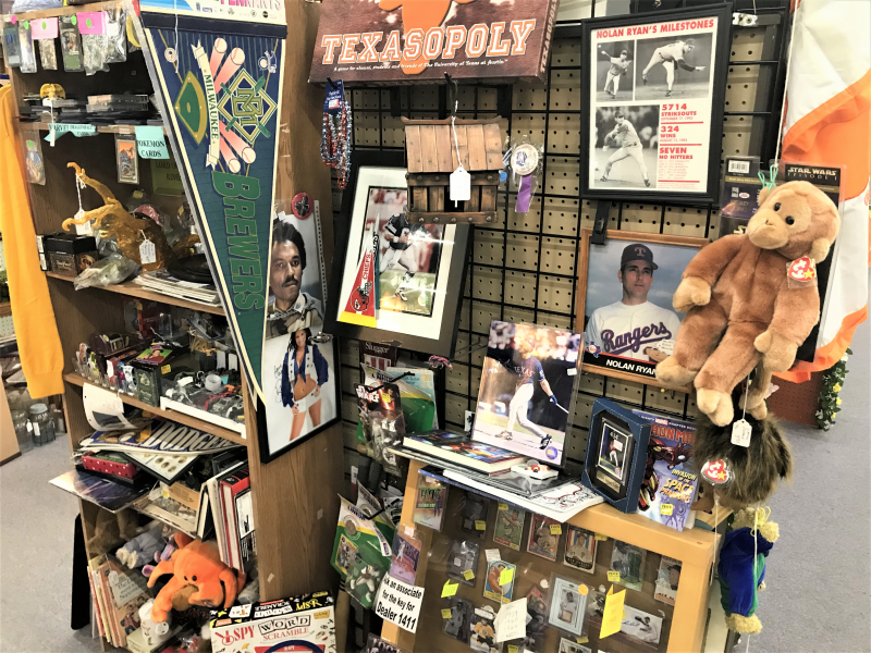 BASEBALL PENNANT, FRAMED PHOTOS, TEXASOPOLY, AND SPORTS MEMORABILIA