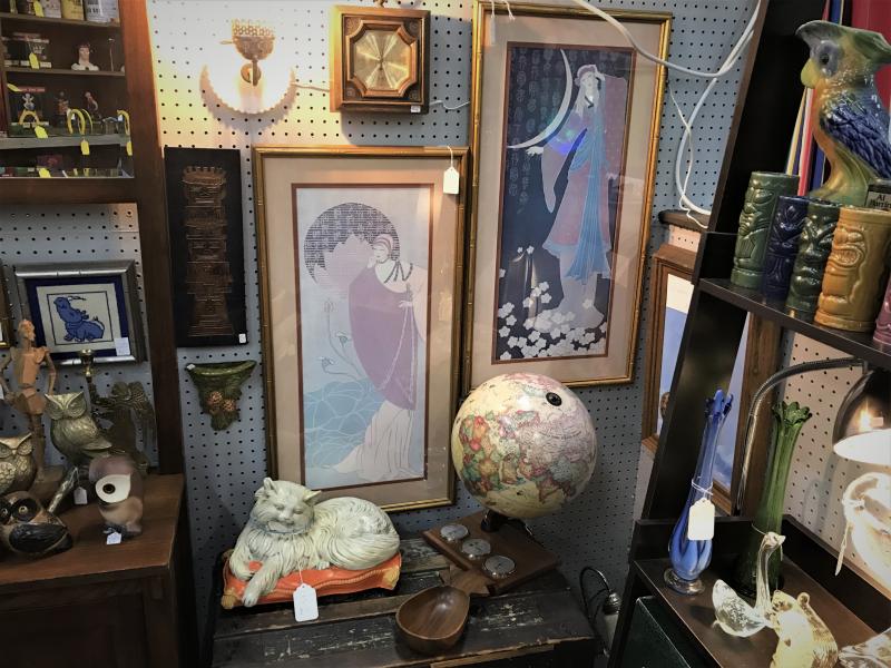 tiki mugs, light up globe, chalkware cat, mid century glass, and pair of Erte geisha girls framed prints