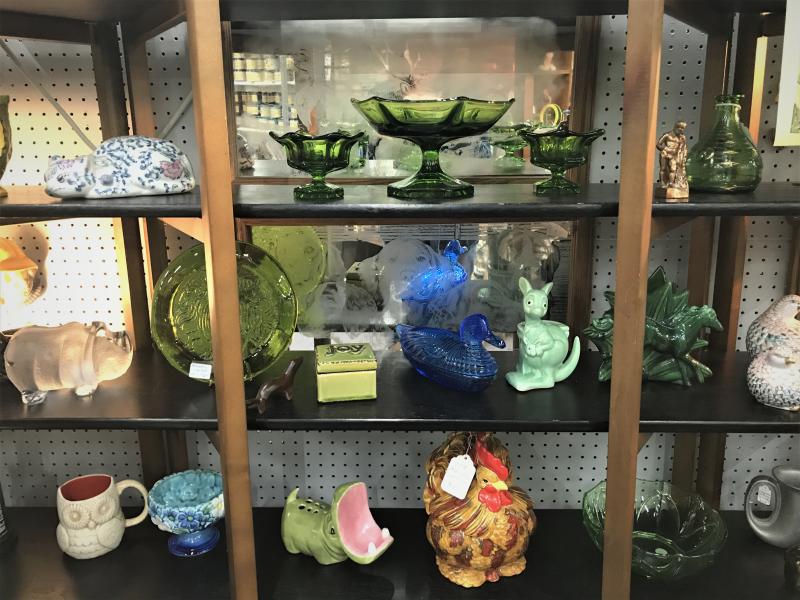 mid century glass and ceramic decor