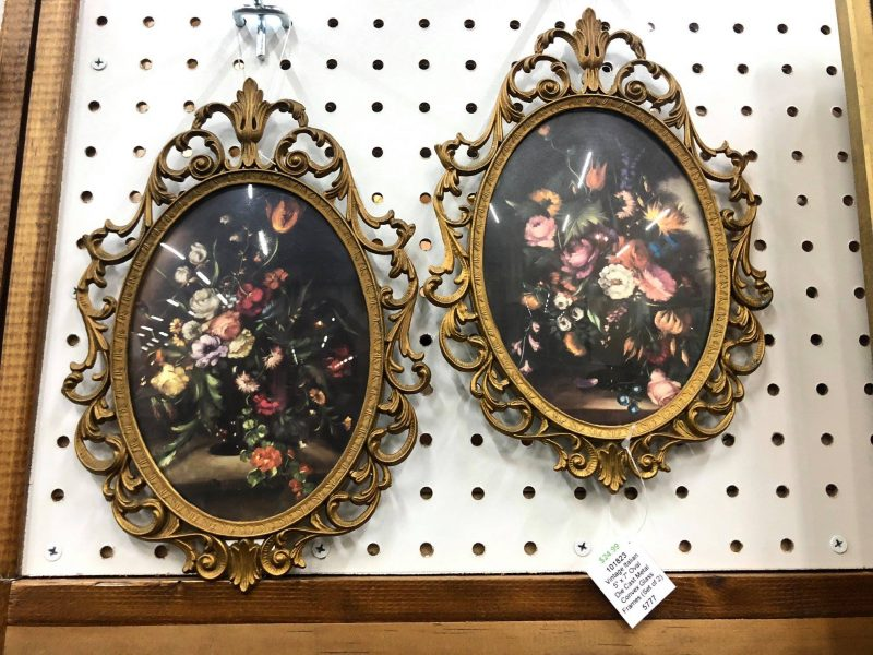 pair of vintage italian oval die cast convex glass frames