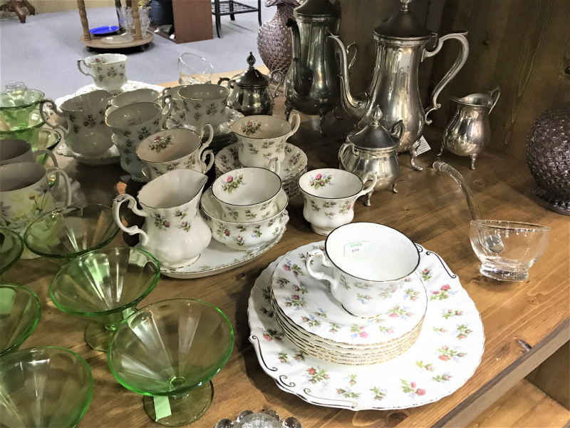 vintage tea sets and Vaseline/uranium glass sherbets