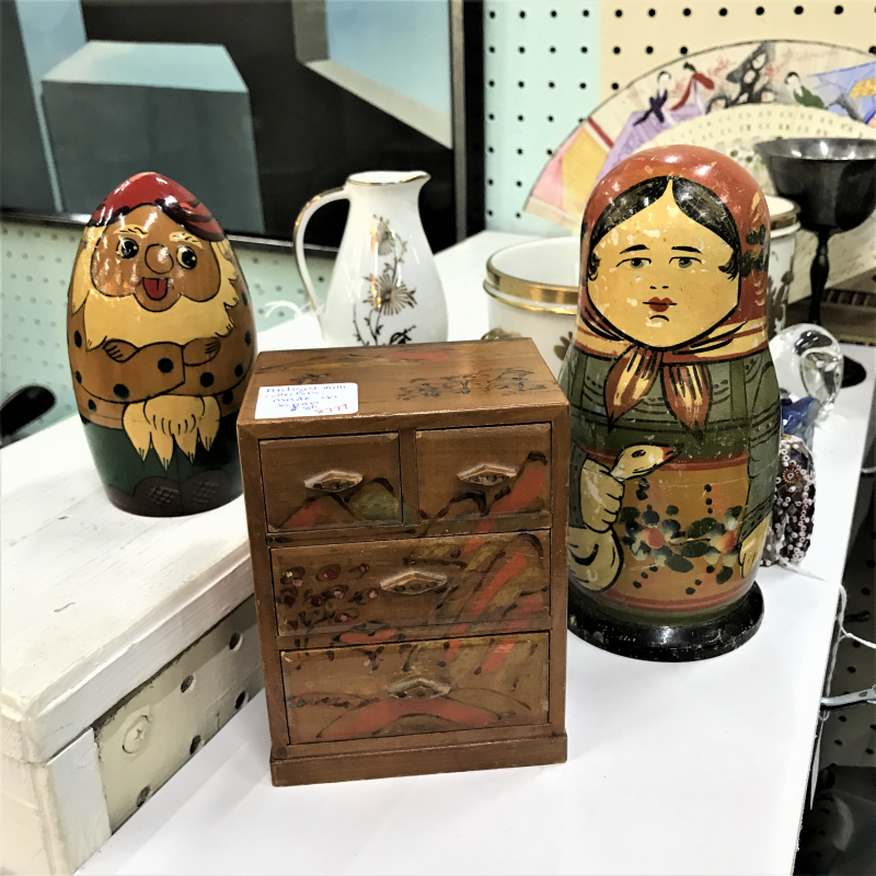 russian nesting dolls and miniature dresser