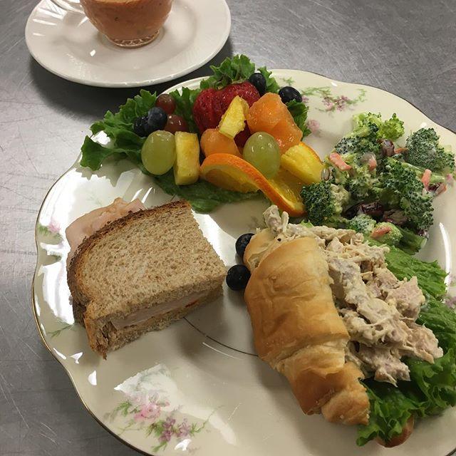 sample plate chicken salad croissant fruit salad