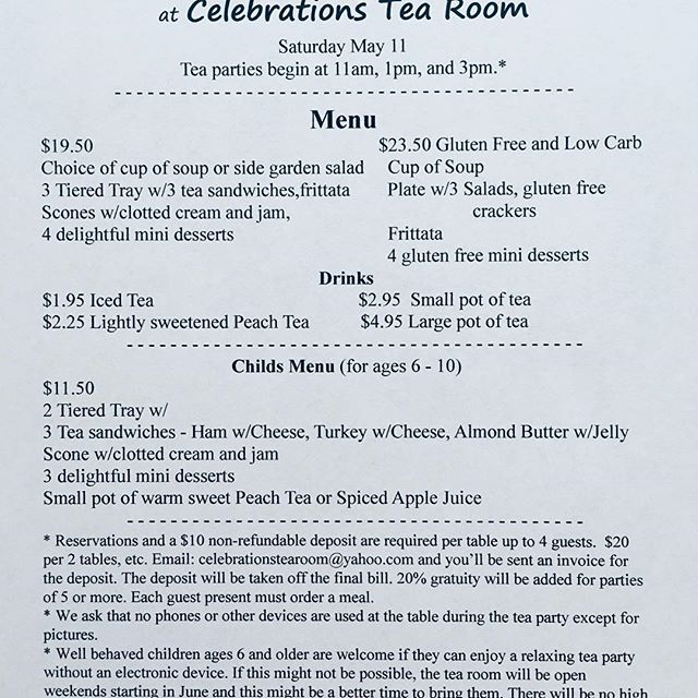 Mother's Day Tea party Menu